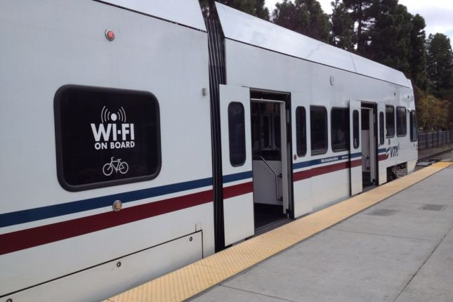 VTA light rail has free Wifi on board, so you can work on the train.