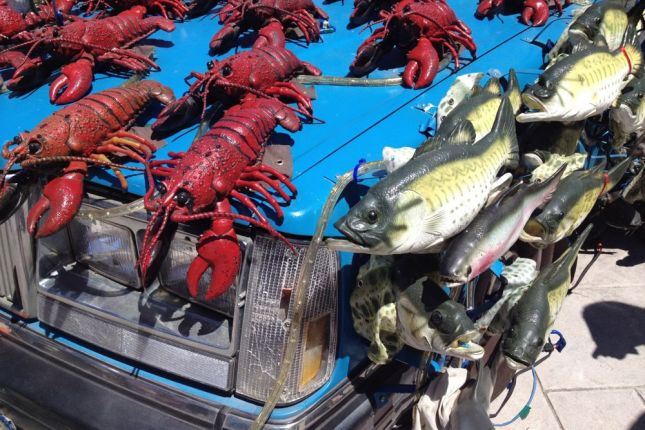 The lobsters wave their claws and the fish bob their heads side to side.
