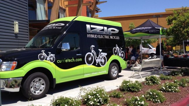 The biggest attraction outside was the iZip hybrid electric bikes.