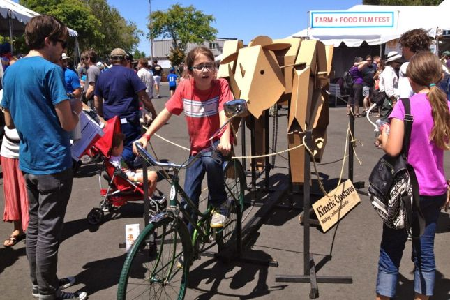 Bicycles and bicycle power were a key theme to the fair, like animating this kinetic creature.