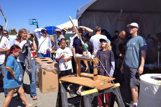 The model rocket making tent was very popular.