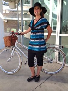 Bold blue striped tunic and floppy hat with my French-inspired mixte.