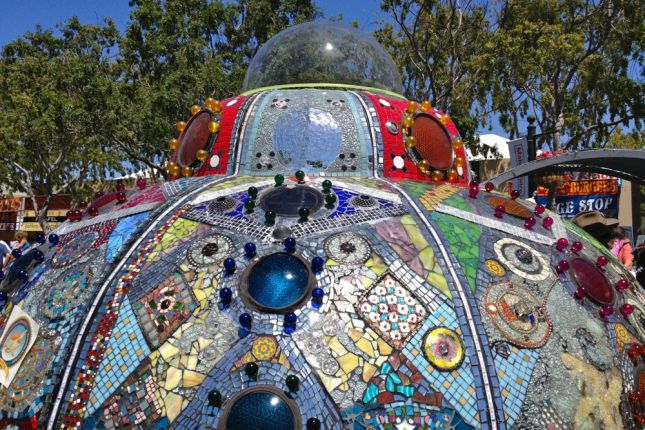 The mosaic spaceship was stunningly beautiful and sparkling in the sun.