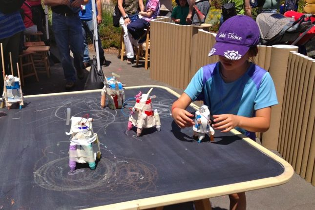 Look what kids can do with a solar motor, a plastic tub and chalk.