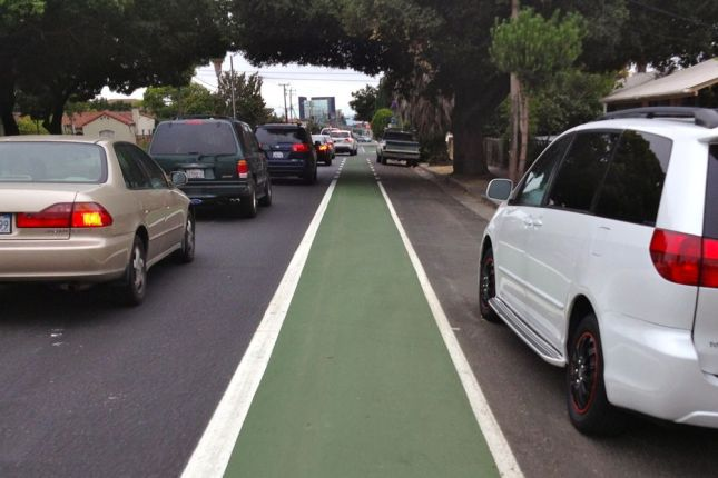 The lane narrows in a few sections because neighbors complained about losing street parking.