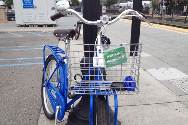 Like Bay Area Bike Share, Intuit bikes have a front basket to carry a purse or laptop bag and a bell for walkers.