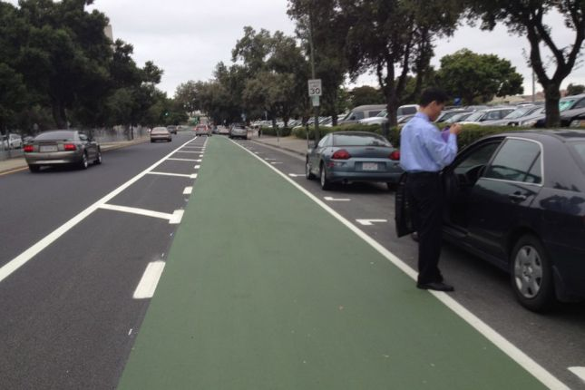 For most of the route, the lanes are wide enough to keep bicyclists safe from people opening car doors.