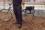 A bike briefcase keeps his laptop's weight off his back for a comfortable ride up the Guadalupe River Trail.