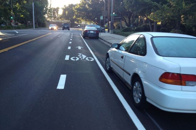 Even with a medium-sized car, how safe is it to ride in this bike lane?