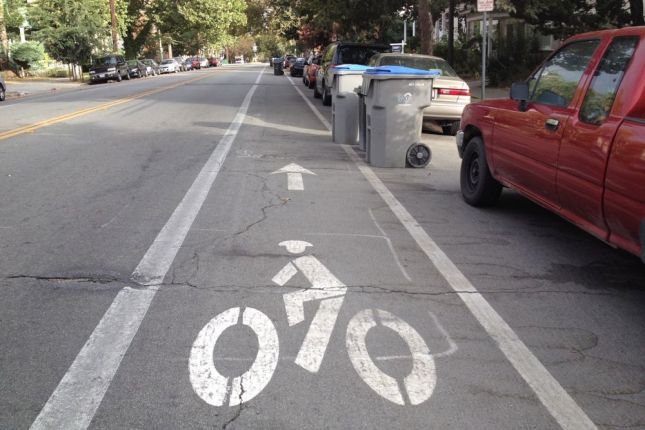 On 3rd Street in San Jose, some residents politely keep their garbage out of the bike lane.
