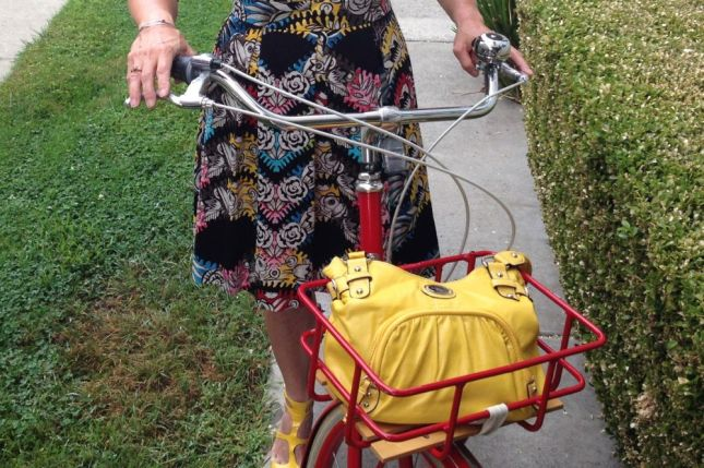 The bag is large enough to stow a cardigan for the cooler ride home.