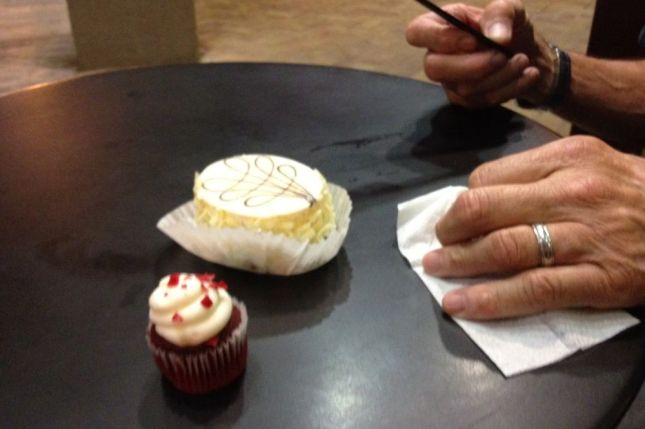 I only had room for a tiny Red Velvet cupcake. Just as well, Dick wasn't sharing his cheesecake.
