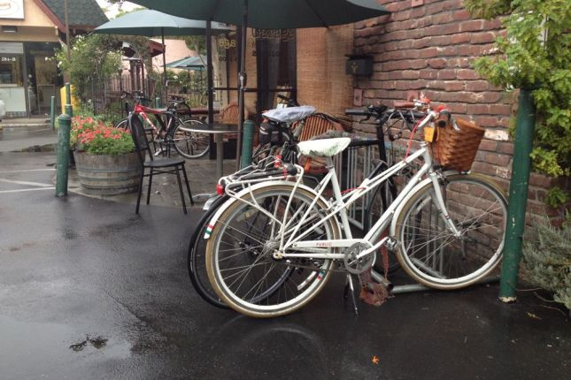 In less than a half mile it turned heavy, so we took refuge at a bagel shop in Naglee Park.