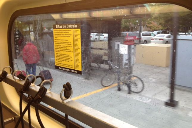 It was dry  when we hopped on Caltrain, but the rain on the train's windows was a foreboding sign.