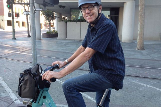 Dick was happy to ride bike share for the first time.