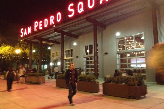 Outdoor lighting livens the space at San Pedro Square.