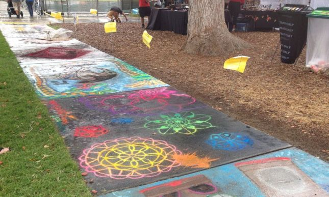 This chalk art was spared due to higher ground.
