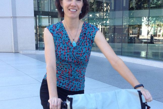 A short sleeve silky blouse keeps Leah from heating up on a warm late-summer morning.