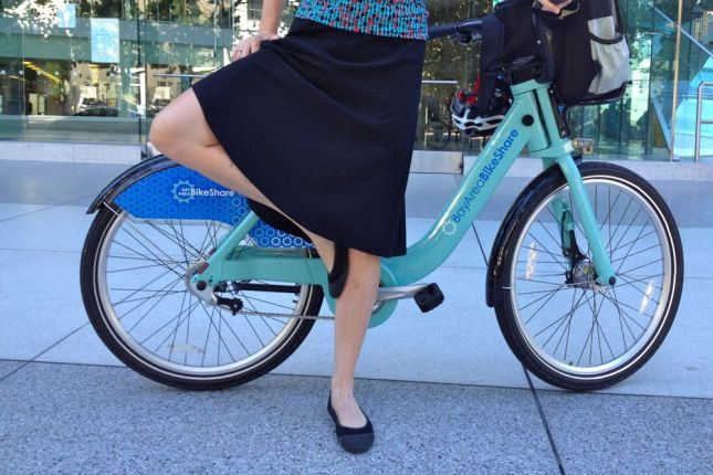A flared skirt allows full range of motion for riding the bike and for doing the yoga Tree Pose.
