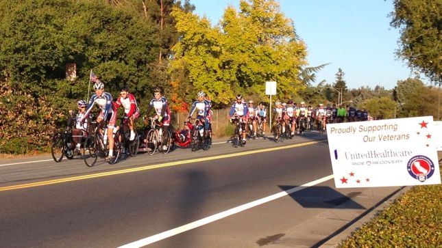 The cyclists on adaptive bikes led the way as the group rolled into the Palo Alto VA Hospital for the start.