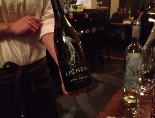 1st course wines: Lichen Pinot Noir & Pinot Gris for me, Recuerdo Torrontés, an Argentine white wine for him.