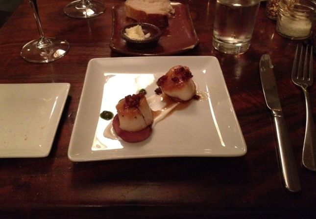 My 2nd course: perfectly grilled scallops with currants and a delicate sauce.