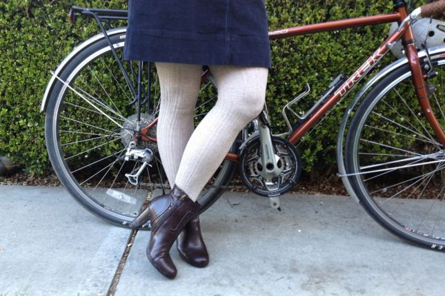 Without the heavyweight sweater tights, this corduroy skirt would never work.