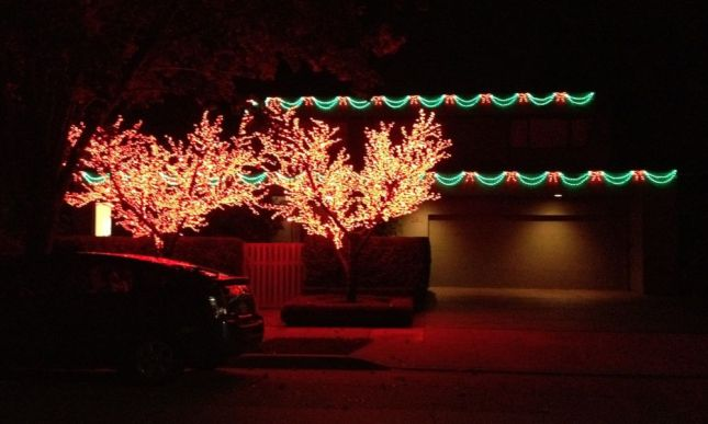 The flaming red trees in front of this house are lit year-round. The garlands on the house are seasonal.