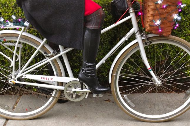 Stylish but inexpensive vinyl boots make perfect rain boots for the bike.