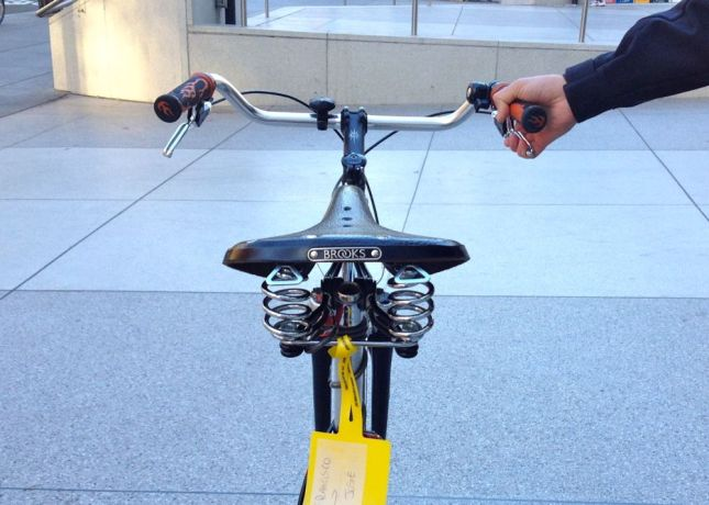 With his thief-attracting Brooks saddle, a cable lock doesn't feel like enough.