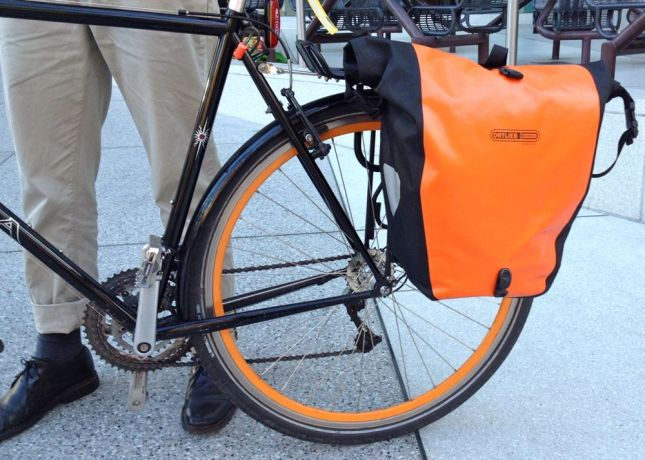 Ortleib panniers keep his gear dry, not that we've had any rain this winter.