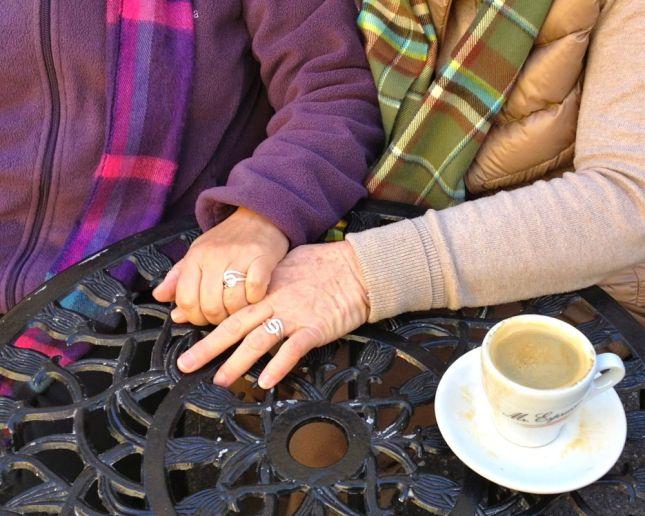 Beautifully simple rings seal the deal. Congratulations, Candice & Carmen!