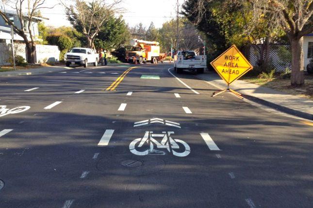 Tree trimming? No problem. Kids stay safe biking to school on Cowper.