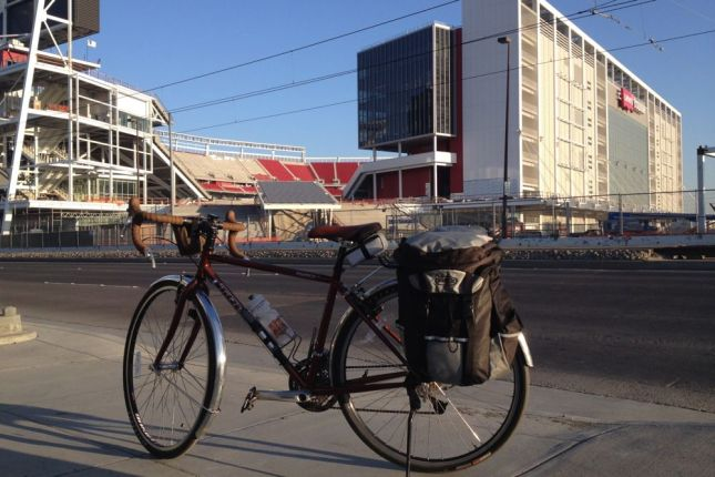 The highlight of the 8 mile ride to the Amtrak station was seeing Levi's Stadium. 80% done!