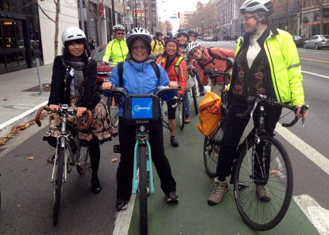 Virginia used bike share instead of bringing her bike aboard Caltrain.