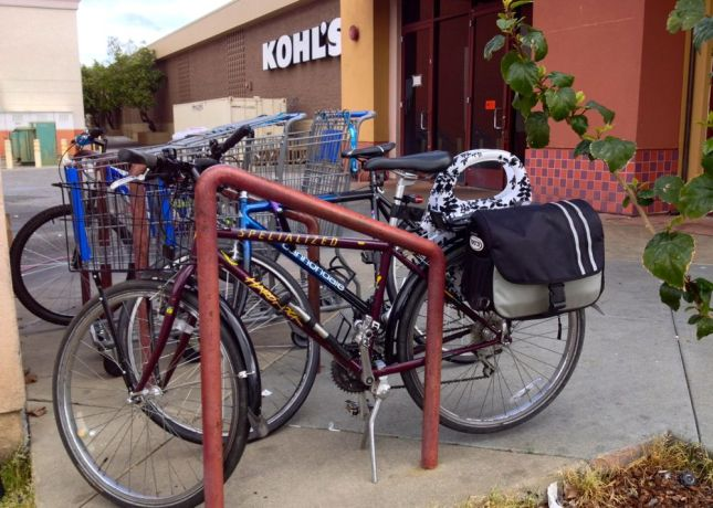 From a distance, the bike rack looks great: a sturdy standard rack in an area that's visible from the parking lot.
