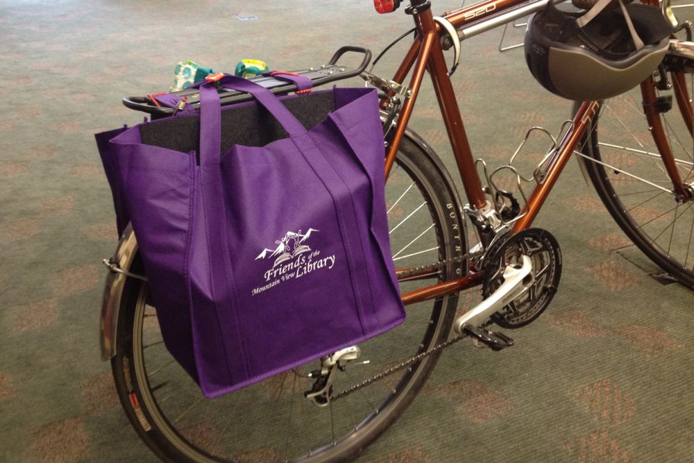 Bike Crafts Panniers From Reusable Grocery Bags One Woman Many