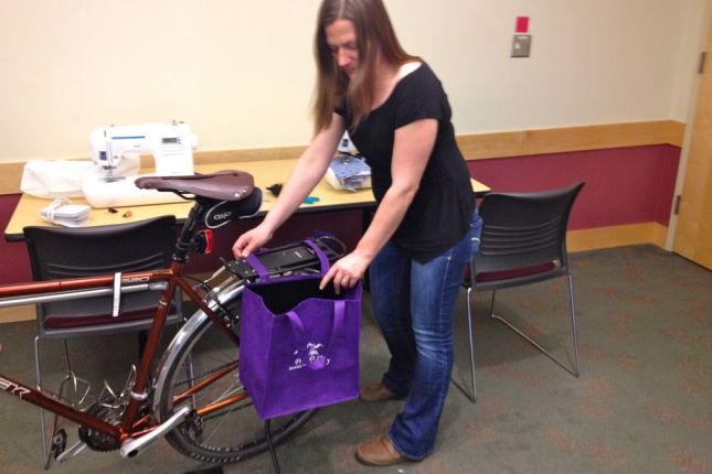 Before stitching, test strap length by laying bags across your bike rack.