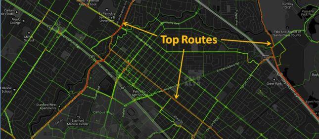 Palo Alto Routes Heat Map