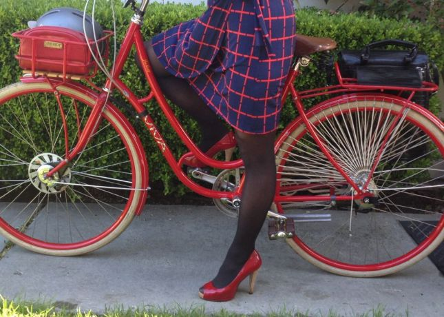 There will be no power walking in these power red patent pumps. Good thing I'm riding a bike.