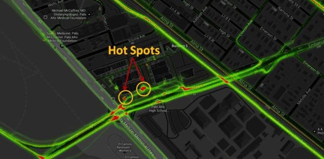 Strava Heat Map Hot Spots Palo Alto