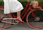 The flare skirt of a fit-and-flare dress means I can pedal in comfort.