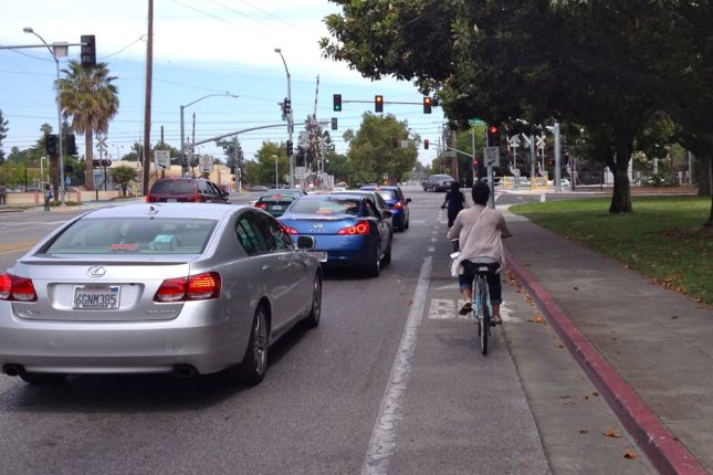 The bike lane on Rengstorff Ave was installed decades ago, but the Caltrain crossing was redone late last year.