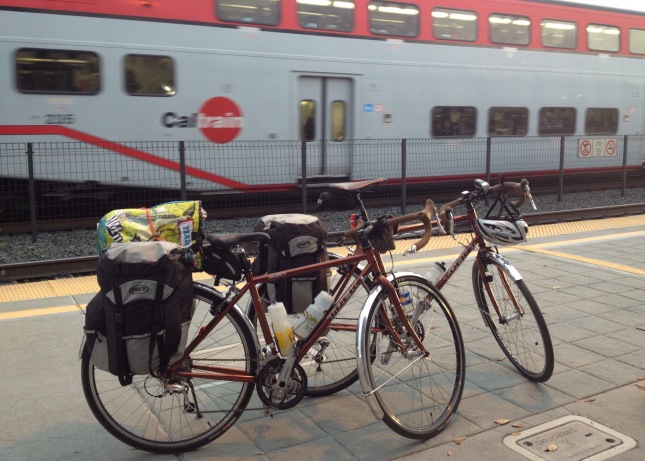 Touring bikes at Caltrain