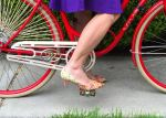 Riding in Heels is easy: put your foot on the pedal and push!